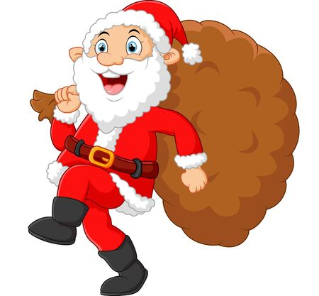 fluffy tuft: Santa walking and holding sack