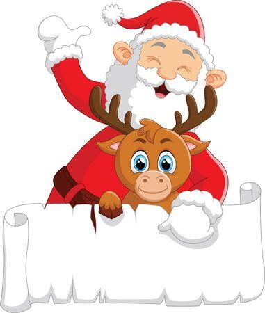 santa waving and holding blank sign Illustration