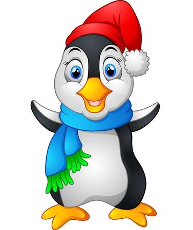 arctic penguin: penguin waving hand wearing red cap Stock Photo