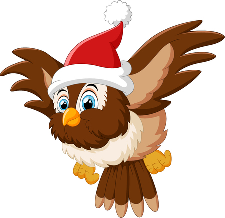 flying hat: cartoon owl wearing santa cap