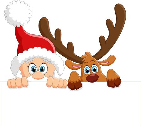 santa and deer holding blank sign