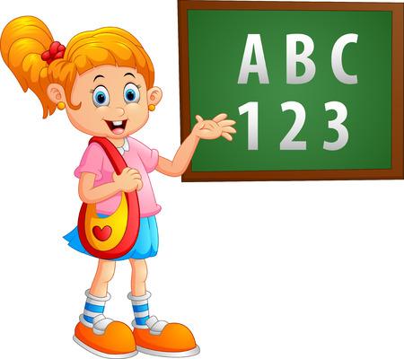 near: girl standing near the blackboard