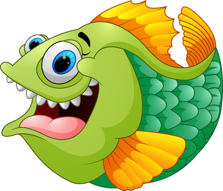 piranha: Cartoon of green piranha
