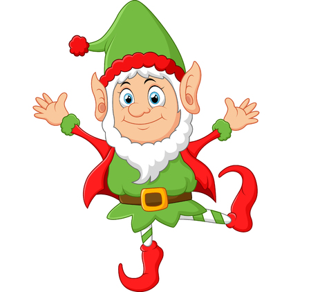 elf's: Cartoon Christmas Elf waving