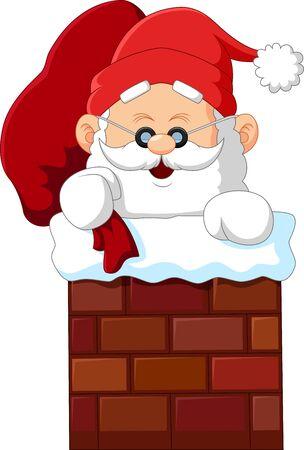 chimney: cartoon santa claus in chimney