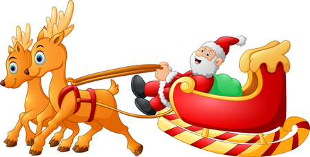 santas sack: santa riding sledge cartoon