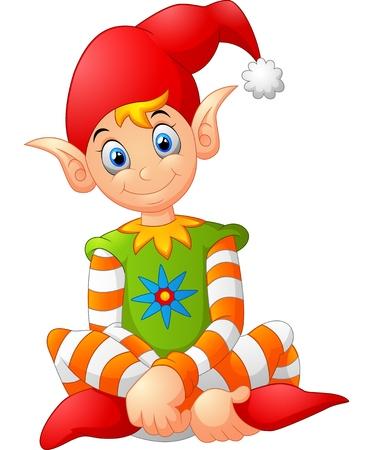 cartoon happy gnome Illustration