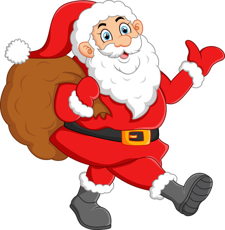 sack: Santa waving and holding sack