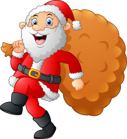 sack: Santa walking and holding sack