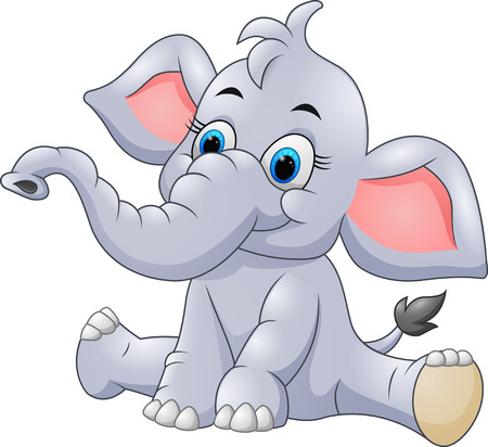 cartoon animal: Adorable baby elephant sit Illustration