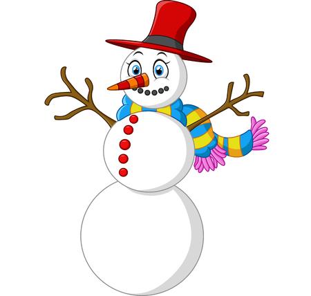 snowman cartoon: happy snowman cartoon Stock Photo
