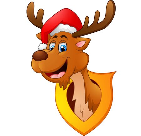 whitetail deer: cute deer christmas cartoon