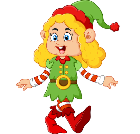 dwarf costume: happy girl wearing elf costume