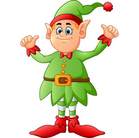 two thumbs up: cartoon elf giving two thumbs up Stock Photo
