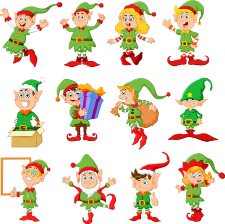 christmas gifts: Illustration of many elfs cartoon