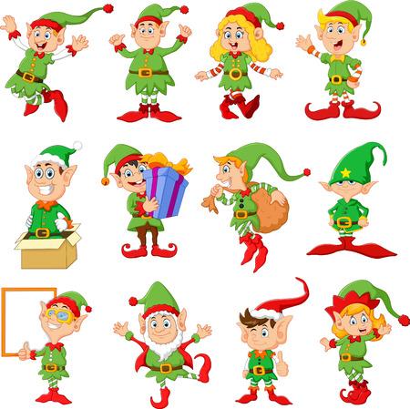 duendes de navidad: Ilustración de muchos elfos de dibujos animados Foto de archivo