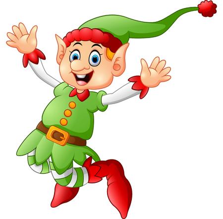 elf hat: Cartoon Christmas Elf waving
