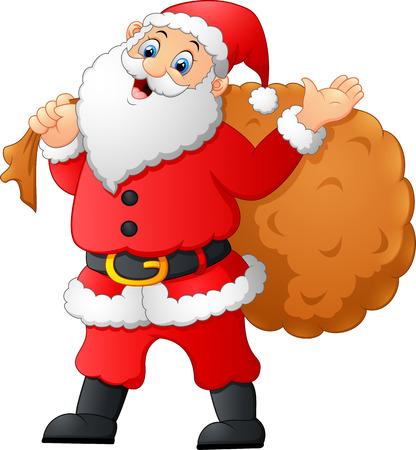 fluffy tuft: Santa waving and holding sack