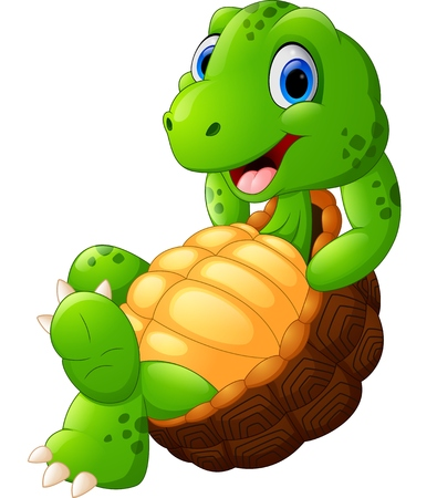 tortuga caricatura: Tortuga linda posando de dibujos animados Foto de archivo