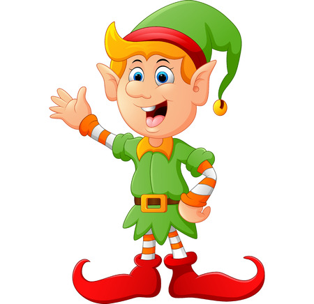 Happy green elf waving