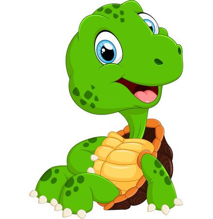 funny animals: Cute turtle cartoon posing