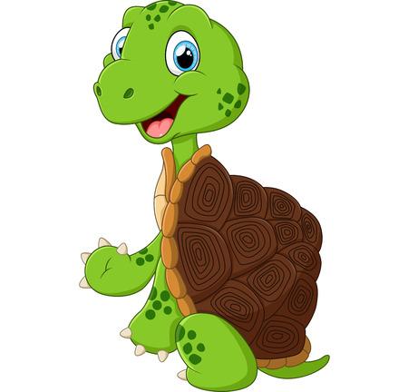 cute green waving turtle