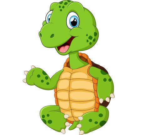 tortuga caricatura: tortuga verde linda que agita Vectores