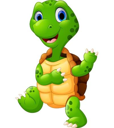 tortuga verde linda que agita