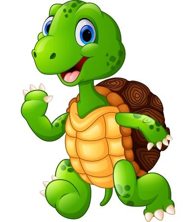 tortuga caricatura: tortuga verde linda que agita Foto de archivo