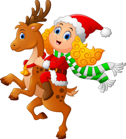 winter girl: little girl ride deer on christmas