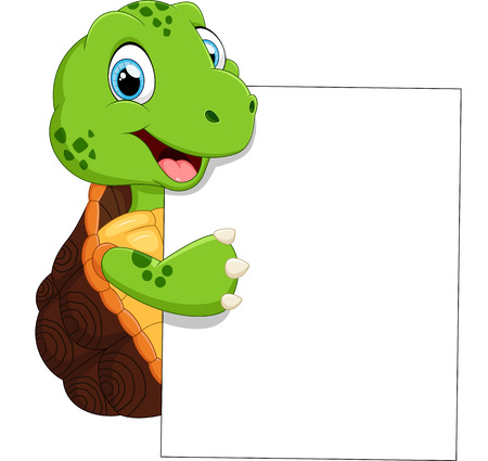 turtles: Cute turtle cartoon with blank sign