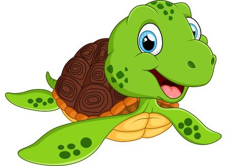 Glückliche Meeresschildkröte-Cartoon Standard-Bild - 49222582