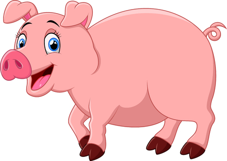 stocky: Cartoon happy pig