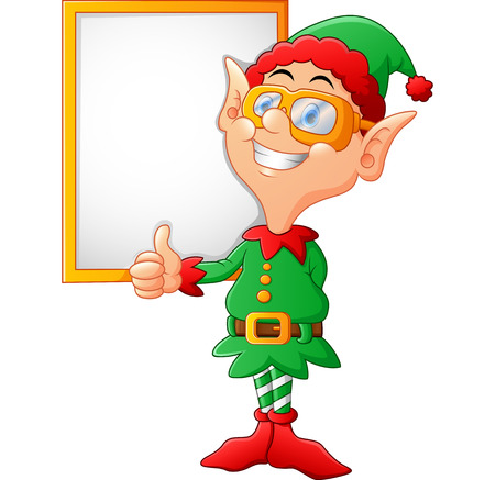 christmas party people: cartoon elf giving a thumbs up