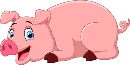 lay down: cartoon pig lay down