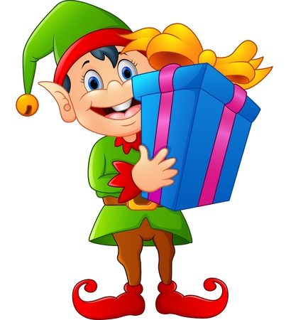 elf hat: cartoon elf holding gift box