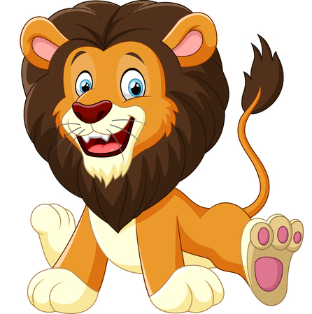 animal fauna: cartoon lion sitting Illustration