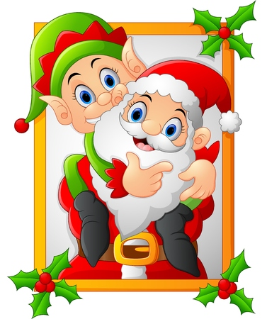 claus: happy santa hold elf cartoon