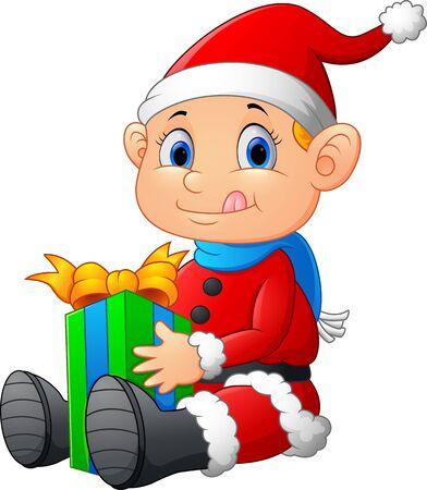 emotions faces: little santa holding gift box Illustration