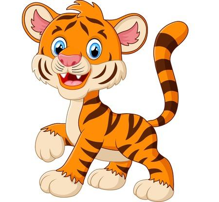 tigre cachorro: cachorro de tigre lindo está sonriendo