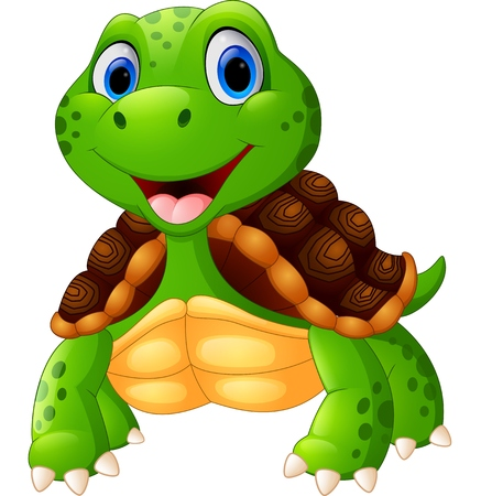 Cute turtle cartoon posing