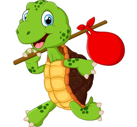 cartoon character: Turtle traveling cartoon Illustration