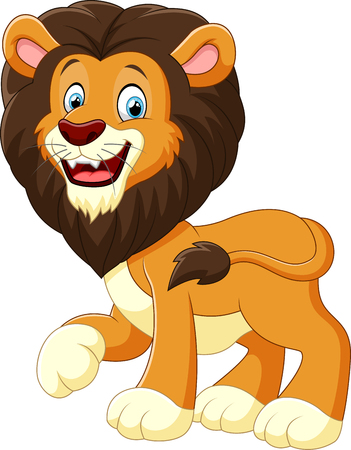 animal fauna: cute lion cartoon Illustration