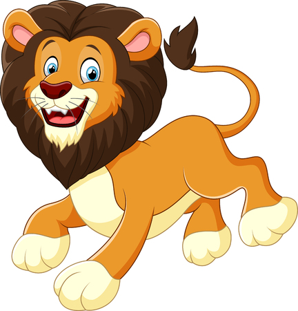 furry animals: cute lion cartoon Illustration