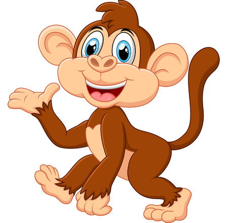 cartoon funny: Cartoon monkey presenting