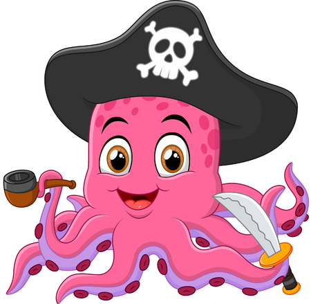 sea robber: Cartoon pirate octopus