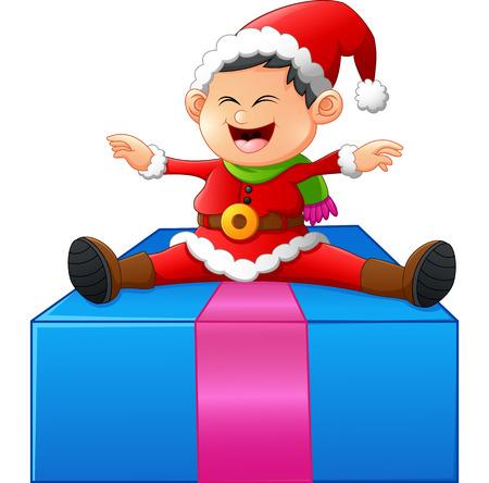 child sitting: little santa sitting on gift box