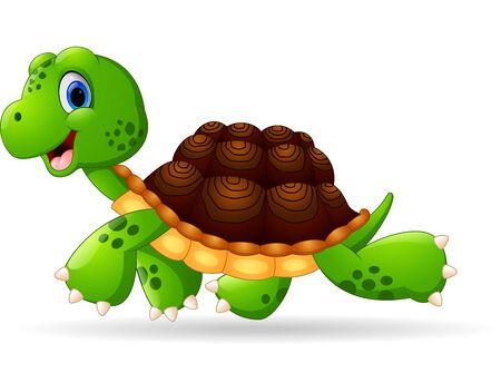 cute cartoon: Cute green turtle cartoon