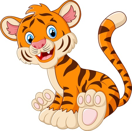 baby isolated: Cute tiger cartoon sitting