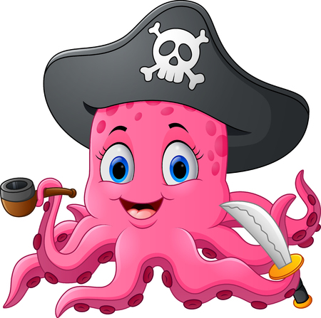 costume eye patch: Cartoon pirate octopus